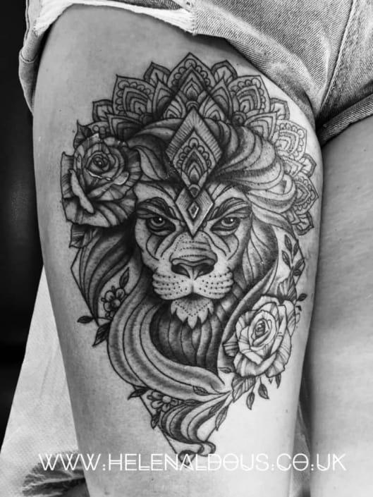 Lion Tattoo by Helen Aldous