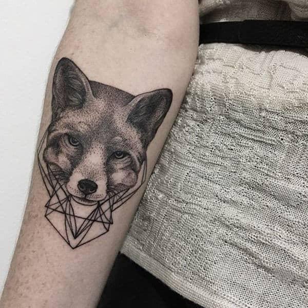 Delicate dotwork fox tattoo