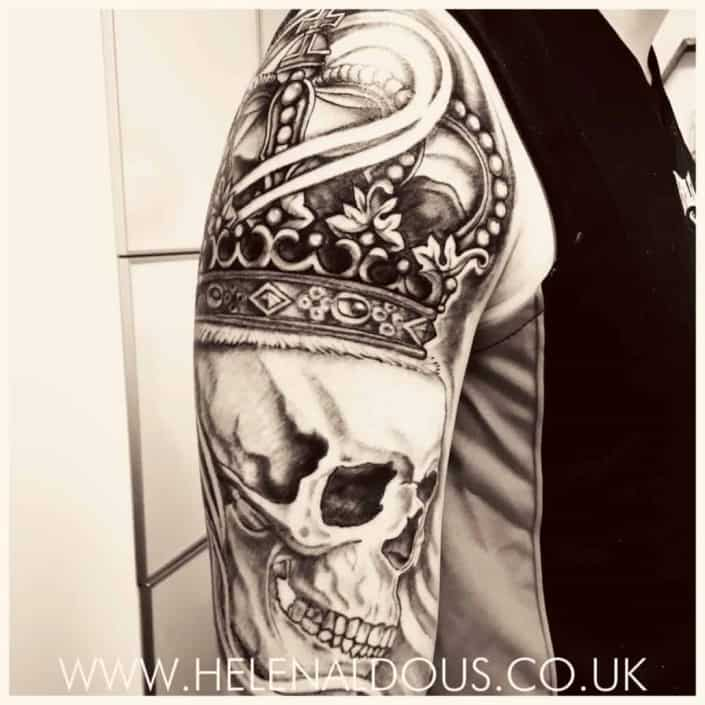 Skull Crown Sleeve Tattoo by Helen Aldous